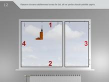 Kasanın duvara sabitlenmesi sırası ile üst, alt ve yanlar olacak şekilde yapılır.