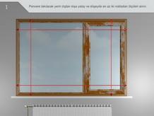 Pencere takılacak yerin dıştan dışa yatay ve düşeyde en az iki noktadan ölçüleri alınır.