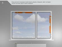 Kasa pencere boşluğuna kaldırılarak yatayda, düşeyde, içten ve dıştan terazisi alınarak geçici olarak sabitlenir.