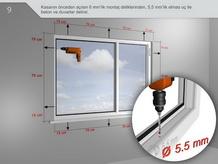Kasanın önceden açılan 6 mm'lik montaj deliklerinden, 5,5 mm'lik elmas uç ile beton ve duvarlar delinir.