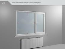 Sabit cam tarafının tüm cam çıtları yerine çakılır.